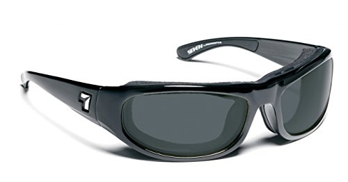 7eye Whirlwind Photochromic Sunglasses, Black Glossy Frame, Gray Eclypse Lens, Small/Large