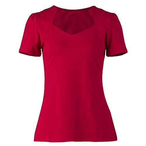 Vintage red Tops Sweetheart Short Sleeves Pinup T-Shirt for Women