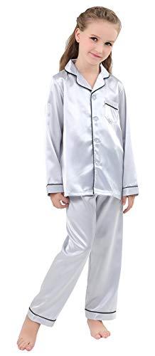 JOYTTON Kids Satin Pajamas Set PJS Long Sleeve Sleepwear Loungewear ()