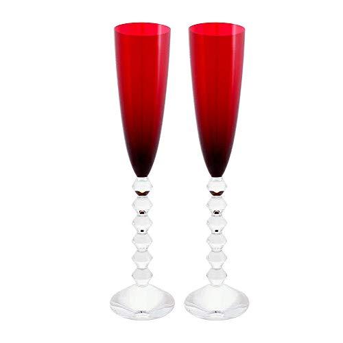 Baccarat Crystal Vega Flutissimo Flute Red Set of 2 (Baccarat Vega Champagne Flute)