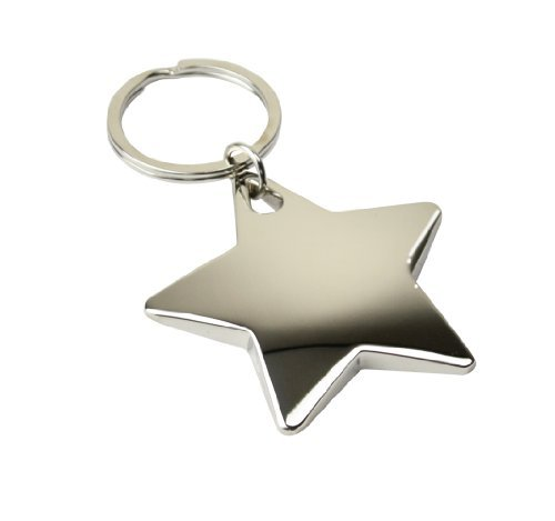 eBuyGB Metal Star Shaped Key Ring - Stocking Filler School Teachers Gift (Shiny) (Shaped Star Keychain)