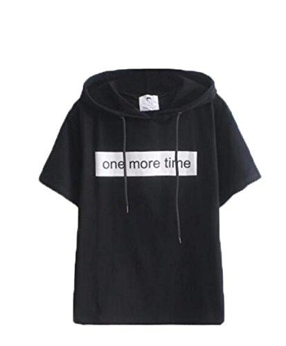 気を散らす感心する船尾(ジュンィ) レディース パーカー 半袖 ゆったり シンプル おしゃれ フード付き Tシャツ 英字 トップス BF風 通勤 通学