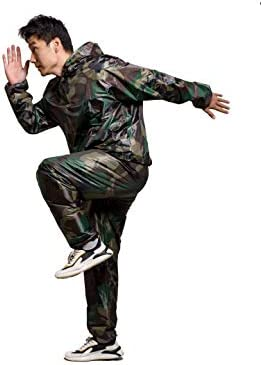 GOLD XIONG PADISHAH Sweat Sauna Suit for Men Women Zipper Anti-Rip Hoodie Weight Loss Workout Suits Camouflage and Black 5