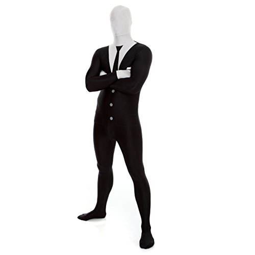 Slender Man Morphsuit Fancy Dress Costume - size Xlarge - 5'10-6'1 -