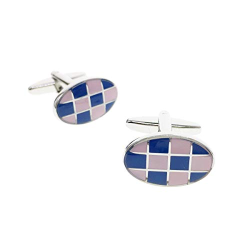 (Cuff-Arts Cufflinks for Men Classic Cufflinks Pink and Blue Color with a Box C10312)