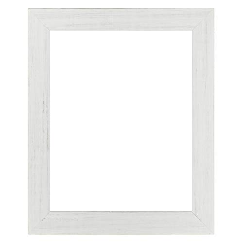 """2.5 Wide Distressed Wood - Millbrook Collection Country Chic Wood Picture Frame Wide 2.5"""" Inch Solid Wood Molding for Photos, Artwork & Prints Includes Glass - Made in USA- [Marshmellow White - 16"""