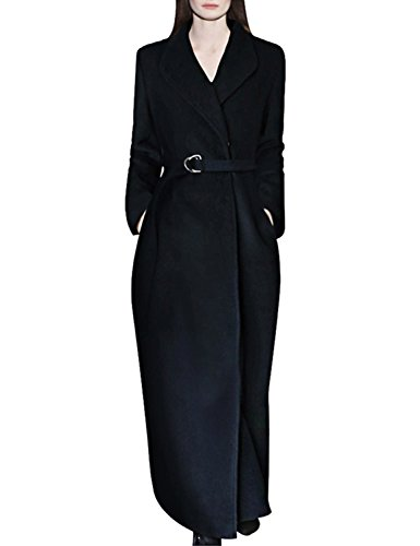 Collar Long Coat (Hego Women's Turn-Down Collar Black Long Wool Coat H3246 (XL, Black))