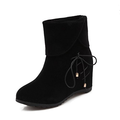 top Heels Boots AmoonyFashion Solid Black Closed High Round Low Women's Frosted Toe xwUq0Az1U