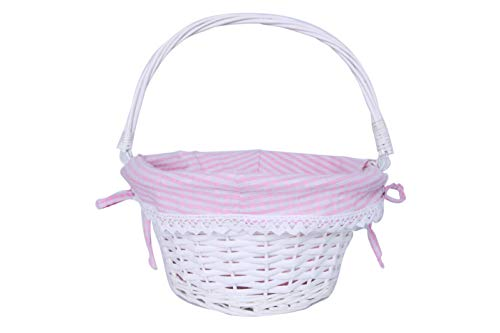 KRZIL Easter Basket Gift Basket Oval Willow Round Wicker Storage Basket with One Drop Down Handle Fabric Cotton Linen for Office, Bedroom, Closet, Toys for $<!--$13.99-->