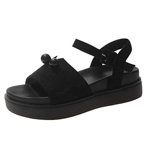 (YKARITIANNA Women's Platform Thick Summer Open Toe Shoes Roman Casual Flock Sandals 2019 Summer Black)