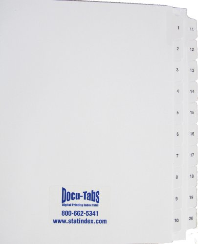 10 Sets of Clear Numbered Index Tabs #1-20 (20 Tabs Clear)