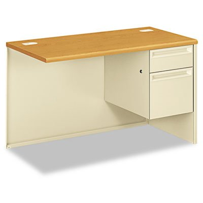 Hon Right Pedestal Return Desk with Lock, 48 by 24 by 29-1/2-Inch, Harvest/Putty by HON (Image #1)