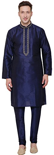 Mens Dupion Silk Kurta Pajama India Clothing (Blue, S)