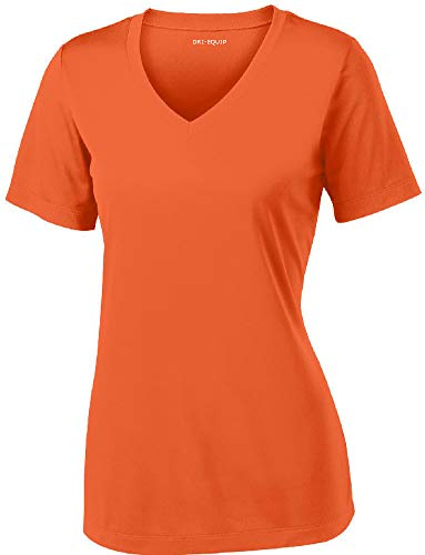 Women's Athletic All Sport V-Neck Tee Shirt in 12 Colors,Large,Deep Orange