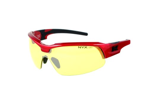 NYX Sport Vision PRO Z-17 Series Sunglass with Z87.1 Safety Rating, Red-Black Frame/Yellow Luminator Safety Lens, Medium