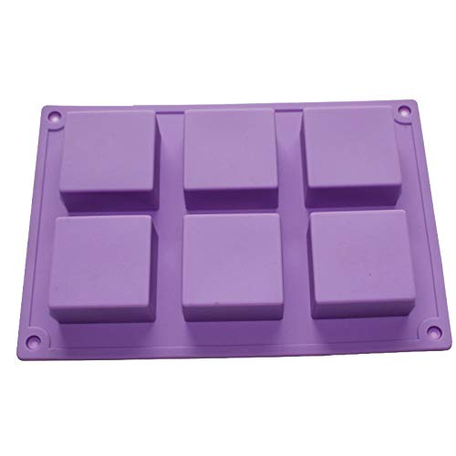 X-Haibei Mini 6-cavity Basic Plain Square Soap Silicone Mold for Homemade Craft 2inch Width 2inch Length 1inch Depth /Cavity -