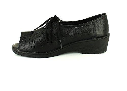 8 cuir Marrion Keller femmes dames à nouvelles sandales 4 ROYAUME souple UNI Noir en TAILLES lacets Dr Caqpw