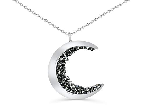 ONDAISY Rhodium Plated Black Cz Gypsy Planet Small Half Crescent Sailor Luna Moon Pendant Charm 18inch Chain Necklace