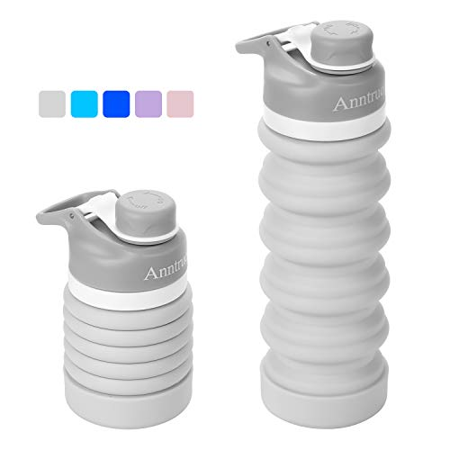 Anntrue Collapsible Travel Water Bottle 18oz, BPA Free, FDA Approved Food-Grade Silicone/Leak Proof/Portable Camping Water Bottle(Light -