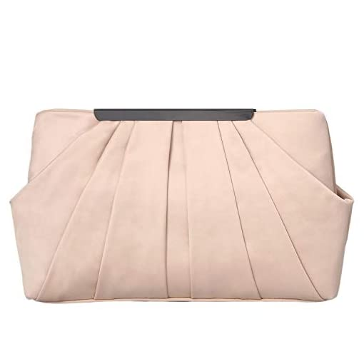 Women Satin Pleat Frame Silver Pink Gold Teal Envelope Party Prom Clutch Bag
