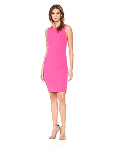 Women's Sleeveless Klein Princess Dress Calvin Crepe Red Sheath Seam Scuba xA1nwI54