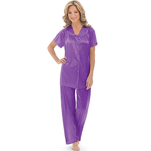 Women's Floral Embroidery Tricot Pajama Set, Purple, - Embroidery Set Floral