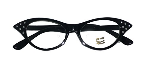 SG6CL/2 (Black) Rhinestone 1950's Cat Eyeglasses (Fifties Cat Eye Rhinestone Glasses)