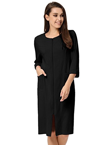 (Women Cozy Summer House Robes Collar with Zipper Design Black L)