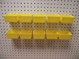Plastic YELLOW PEG BOARD BINS 10 PACK Tool Workbench (DOES NOT INCLUDE PEGBOARD)