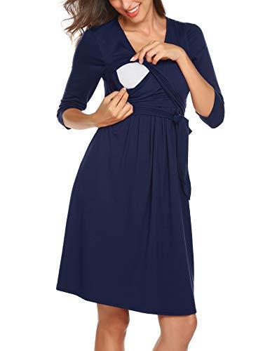 Women's Half Sleeve Knee Length Empire Waist Formal Maternity Dress with Belt Navy Blue S