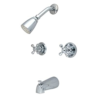 Kingston Brass KB241AX Twin Handle Tub and Shower Faucet with Decor Cross Handle