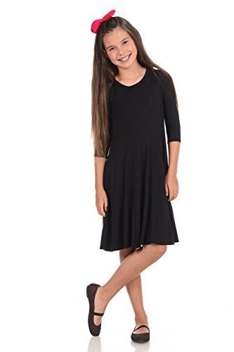 Honey Vanilla Girls' A-Line Trapeze Dress X-Large 11-12 Years (Girls Navy Blue Dress)