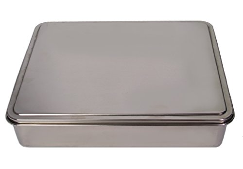 YBM HOME Stainless Steel Covered Cake Pan, Silver (Extra Large-2403)