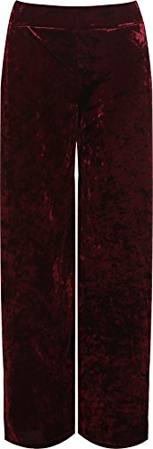 WearAll Women's Plus Velour Velvet Wide Flared Leg Pocket Palazzo Pants - Wine - US 16-18 (UK 20-22) ()
