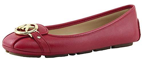 Michael Michael Kors Women's Saffino Fulton Moc Flats, Style 40T2FUFR1L (8, Bright Red)
