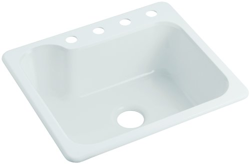 Sterling SC2522SBG-0 Maxeen 25-inch by 22-inch Top-mount Single Bowl Vikrell Kitchen Sink, White (Sink Maxeen Kitchen)