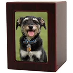 Near & Dear Pet Memorials MDF Pet Photo Cremation Urn, 40 Cubic Inch, Cherry Finish