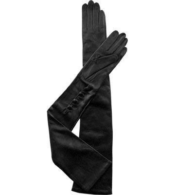 Long Silk Lined Leather Gloves (S, Black) by Go Gloves