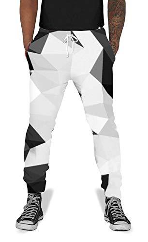 Men Women Print Diamond Jogging Pants Casual Graphric Sweatpants Trousers with Pockets Black