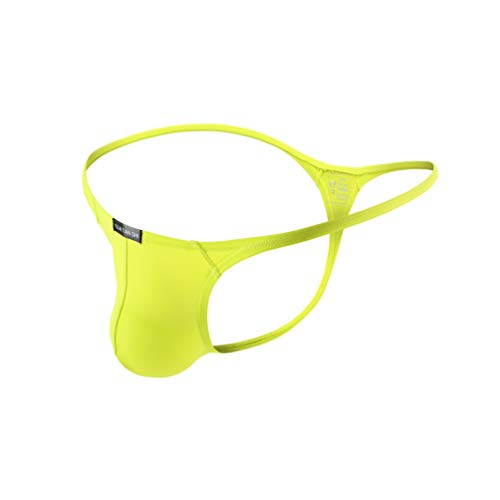 Sexy Men G-string - Azcode Mens T-Back Thongs Sexy Low Rise G-String Briefs Bulge Pouch Underwear Yellow