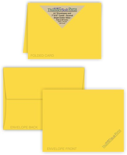 Price comparison product image 5X7 Folded Size with A-7 Envelopes - Bright Golden Yellow - 50 Sets (7X10 Cards Scored to Fold in Half) Matching Pack - Invitations, Greeting, Thank Yous, Notes, Holidays, Weddings, Birthdays