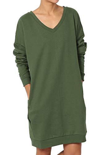 (TheMogan Women's Casual V-Neck Pocket Loose Sweatshirt Tunic Army Green M/L)