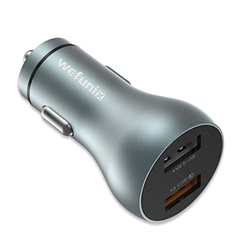 Wefunix 30W Output Dual USB Port Quick Charge 3.0 Car Charger Adapter Aluminum Alloy Fast Charger for iPhone Xs Max/XR/8Plus Samsung S10+/S9/Note 9 G G7/V40 and More [UL Certified] [QC3.0 & 2.4A]