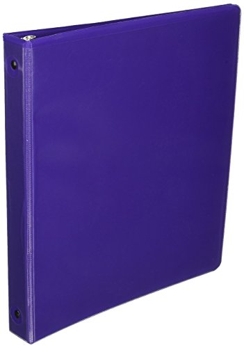 Samsill Clean Touch 3 Ring View Binder Protected by Antimicrobial Additive, Customizable Clear View Cover,1 Inch Round Rings, Purple