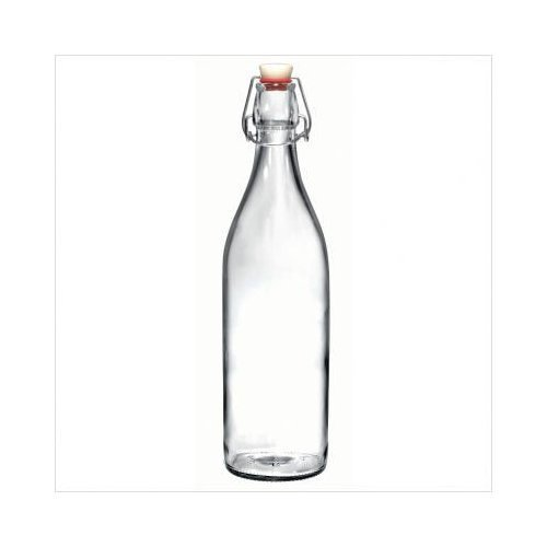 Bormioli Rocco Swing Top Round Glass Bottle, 6, Clear