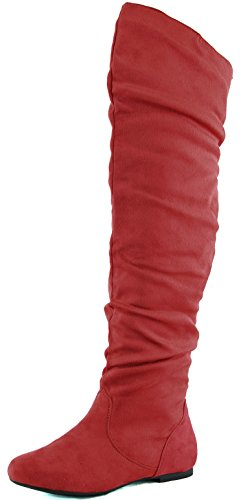 DailyShoes Damenmode-Hi Over-the-Knee Oberschenkel Hohe flache Slouchly Welle Low Heel Stiefel Klassische rote Sv