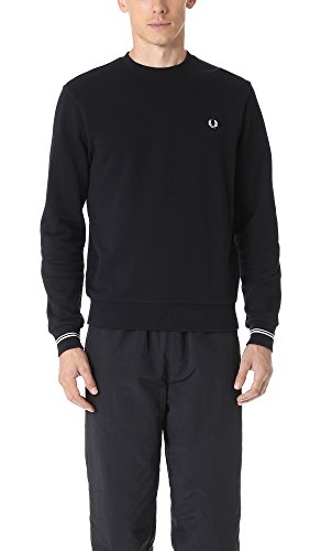 Fred Perry Men's Crew Neck Sweater, Black, - Black Pique Fred Perry