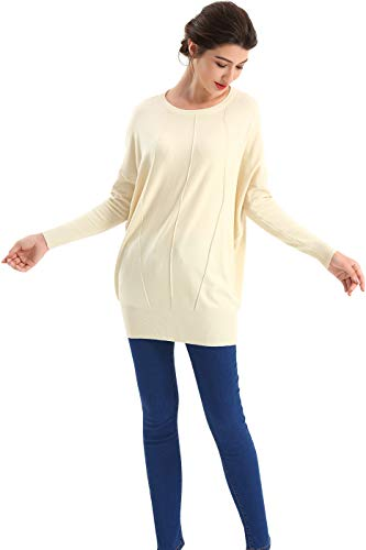 BodiLove Women's Dolman Sleeve Boat Neck Oversized Sweater Top,Beige1,X-Large