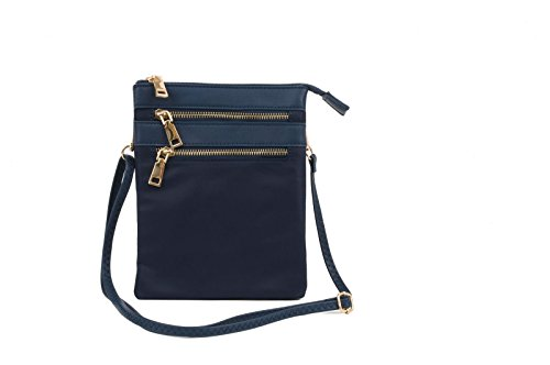 Price comparison product image Huckhouse Crossbody / Wristlet Messenger Bag in waterresistent navy blue nylon with PU leather and gold metal trim. Carry phone and everyday essentials in style.