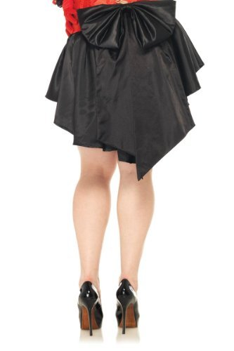 Leg Avenue Women's Plus Size Satin Burlesque Skirt With Train And Oversized Back Bow, Black, Plus (Professional Burlesque Costumes)
